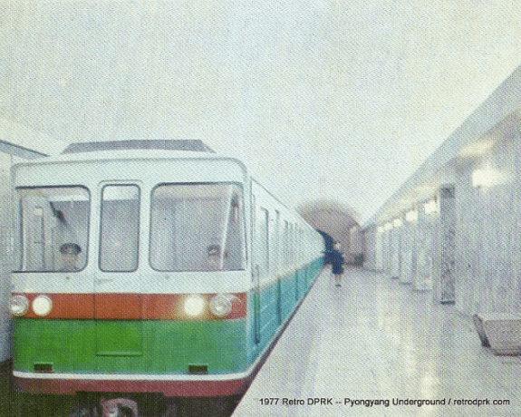 The Pyongyang Metro circa 1977, just four years after it opened in September 1973. The construction put excessive strain on the DPRK economy, but foreign researchers saw only the impressive results of development through mass mobilization. | Image: Retro DPRK