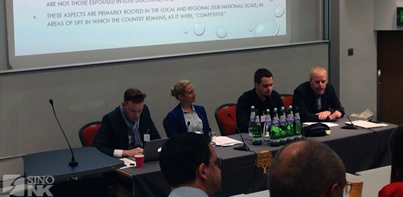 The first panel of the (Korea-focused) day. From left to right: Steven Denney, Dracie Draudt, Théo Clément, and Christopher Green.