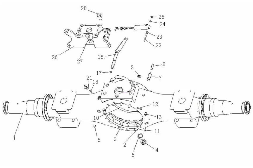 ST16 Middle Axle Housing, Sinotruk Parts Catalog-Parts