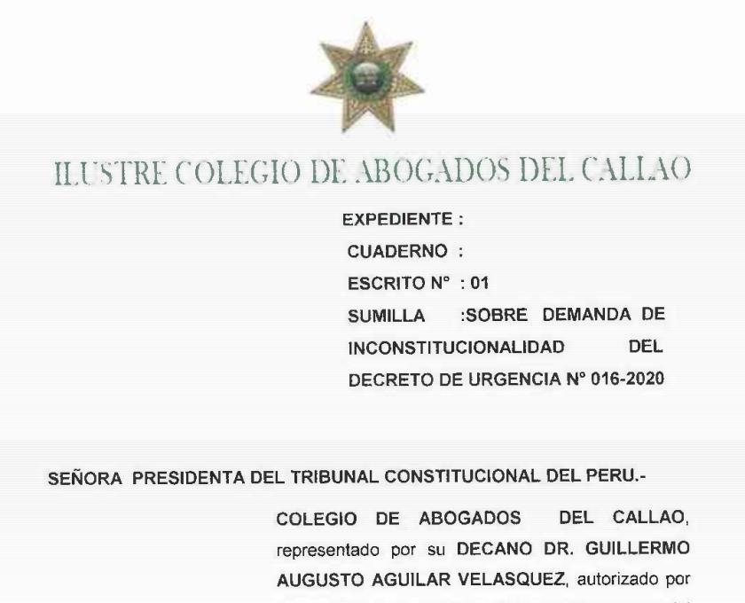 Colegio de Abogados del Callao presenta demanda de inconstitucionalidad del DU 016-2020