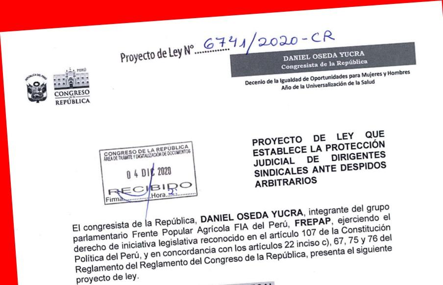 Presentan Proyecto de Ley de Protection Judicial para Dirigentes Sindicales ante Despido Arbitrario