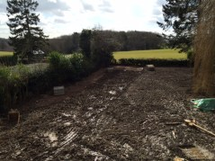 Diggers have levelled the garden