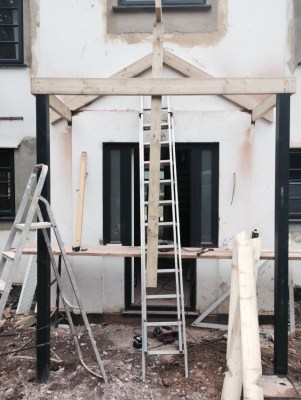 The front porch being built
