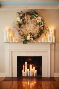Wreath hung over mantle place