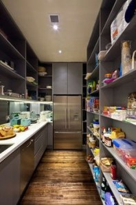 Walk in pantry design in long narrow room