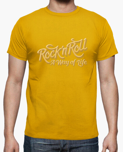 Camiseta Rock n Roll WOL color mostaza