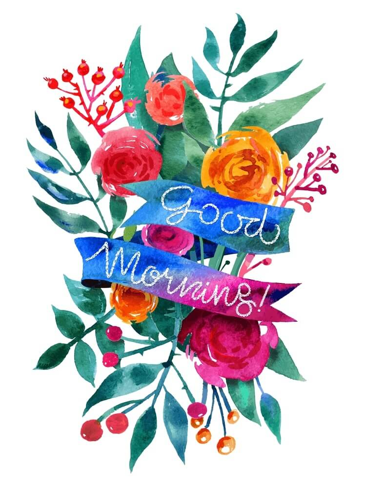 Good Morning watercolor flower card