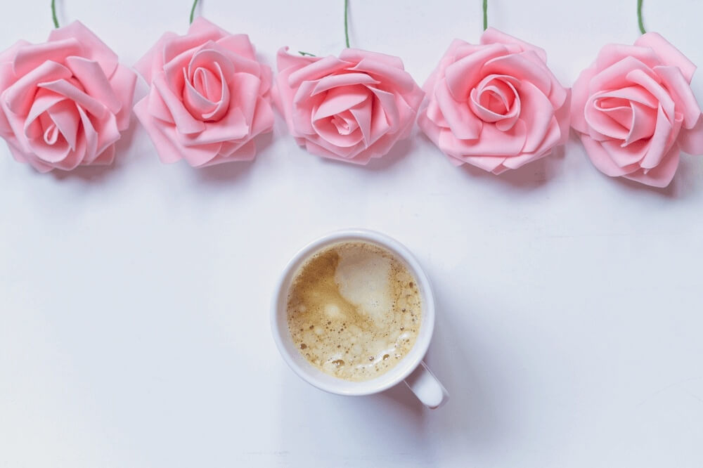 Good morning images with Cup Of Coffee And Pink Flowers