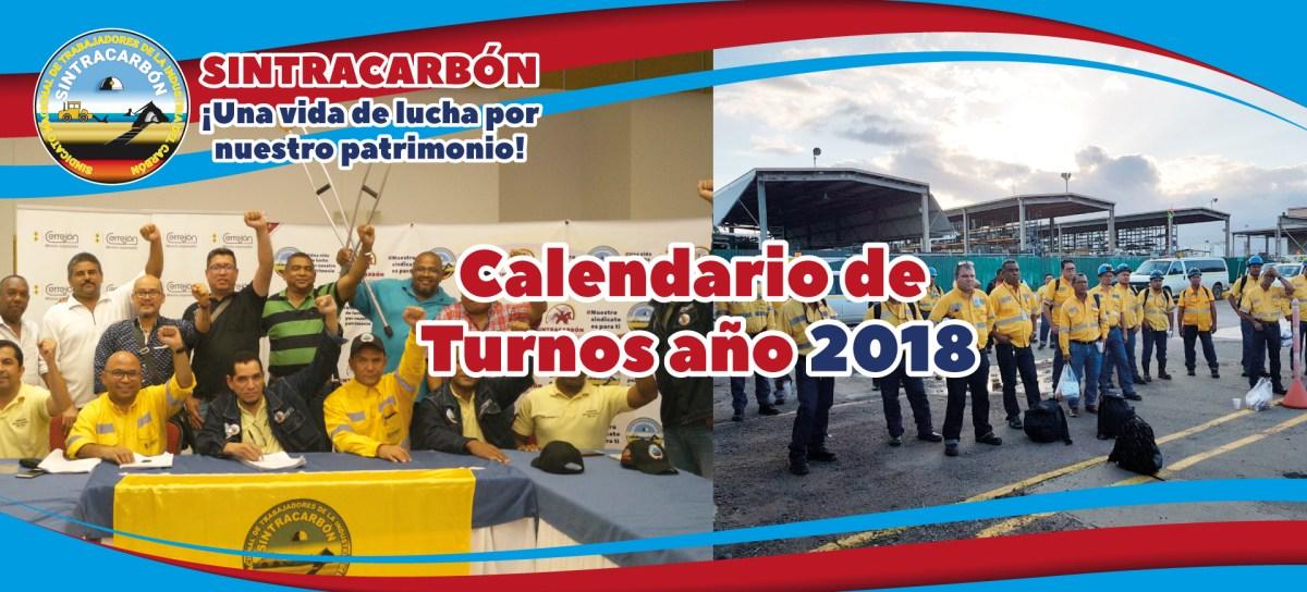 Calendario digital de turnos 2018 para trabajadores en Cerrejón