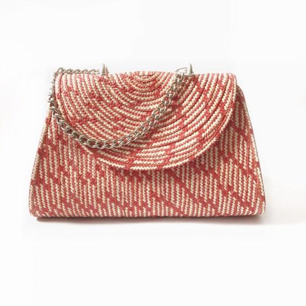 Handmade wicker handbag with handle brown red_front