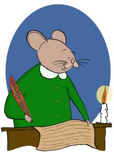 Rotta kirjoittaa sulkakynällä