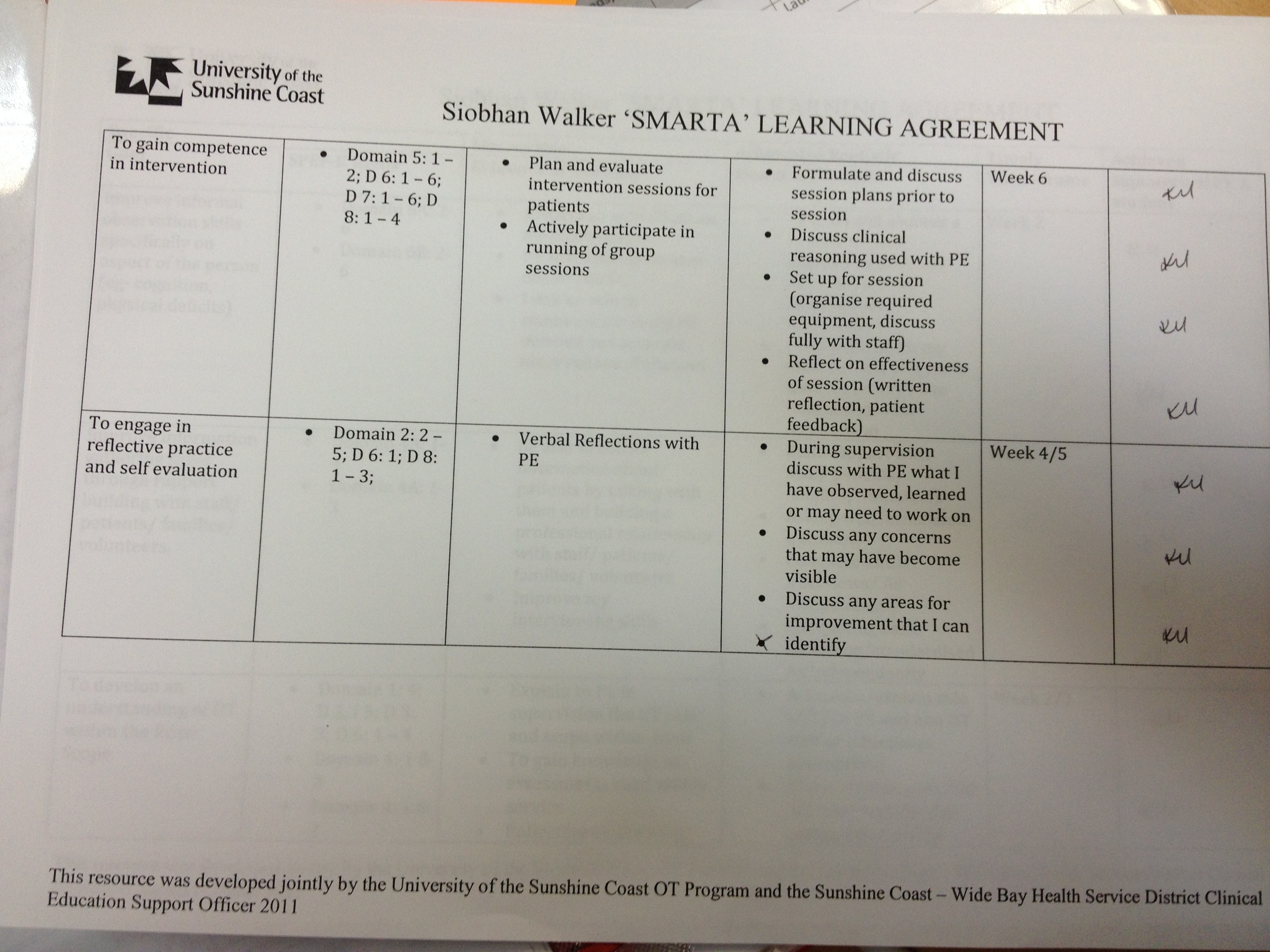 EXAMPLE SMARTA Learning Agreement Goals Siobhan Walker