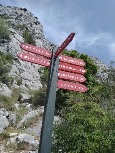 Znak w drodze Kula - Omiš