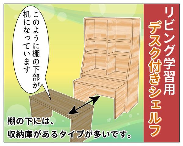 リビング用の棚の下部が机になっているデスク付きシェルフの説明イラスト_004