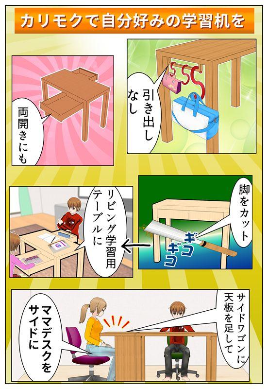 カリモク学習机の工夫してある点を説明しているイラスト_001