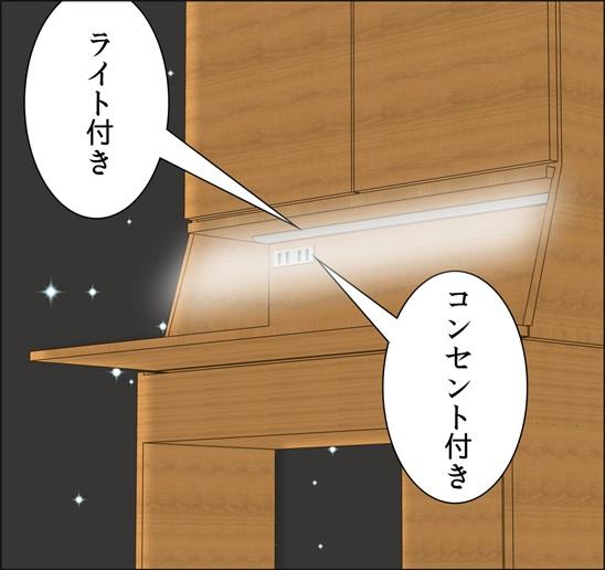 ライティングデスクにコンセントと蛍光灯が最初から付いているという説明イラスト