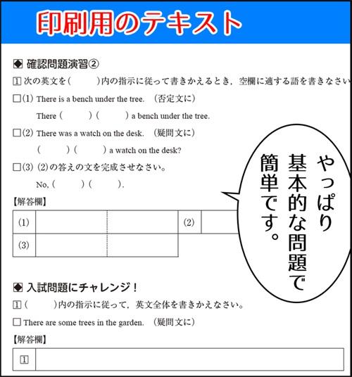 勉強サプリの英語に付属していた印刷用テキスト
