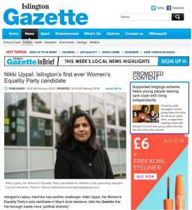 Islington Gazette article of Nikki Uppal, council candidate for Islington Council in 2018. Photograph by Siorna Ashby, a portrait photographer in north London, Finsbury Park for the Islington Gazette