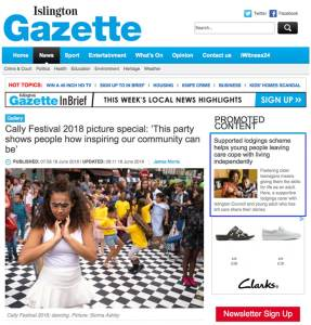 Islington Gazette picture special of Cally Festival 2018. Photograph by Siorna Ashby, a portrait photographer in north London, Finsbury Park for the Islington Gazette