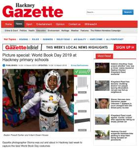An image of a boy in a space suit from World Book Day 2019 from the Hackney Gazette. Photograph by Siorna Ashby, a portrait photographer in north London, Finsbury Park for the Hackney Gazette