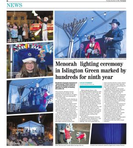 A news article from the Islington gazette with images depicting the menorah lighting ceremony with the Mayor of Islington and Rabbi Mendy