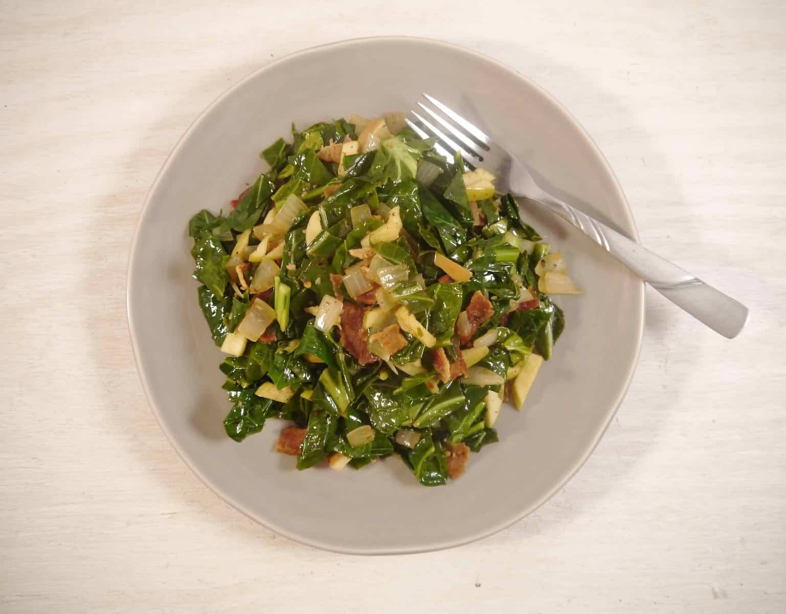 Braised Greens with White Wine, Bacon and Apples
