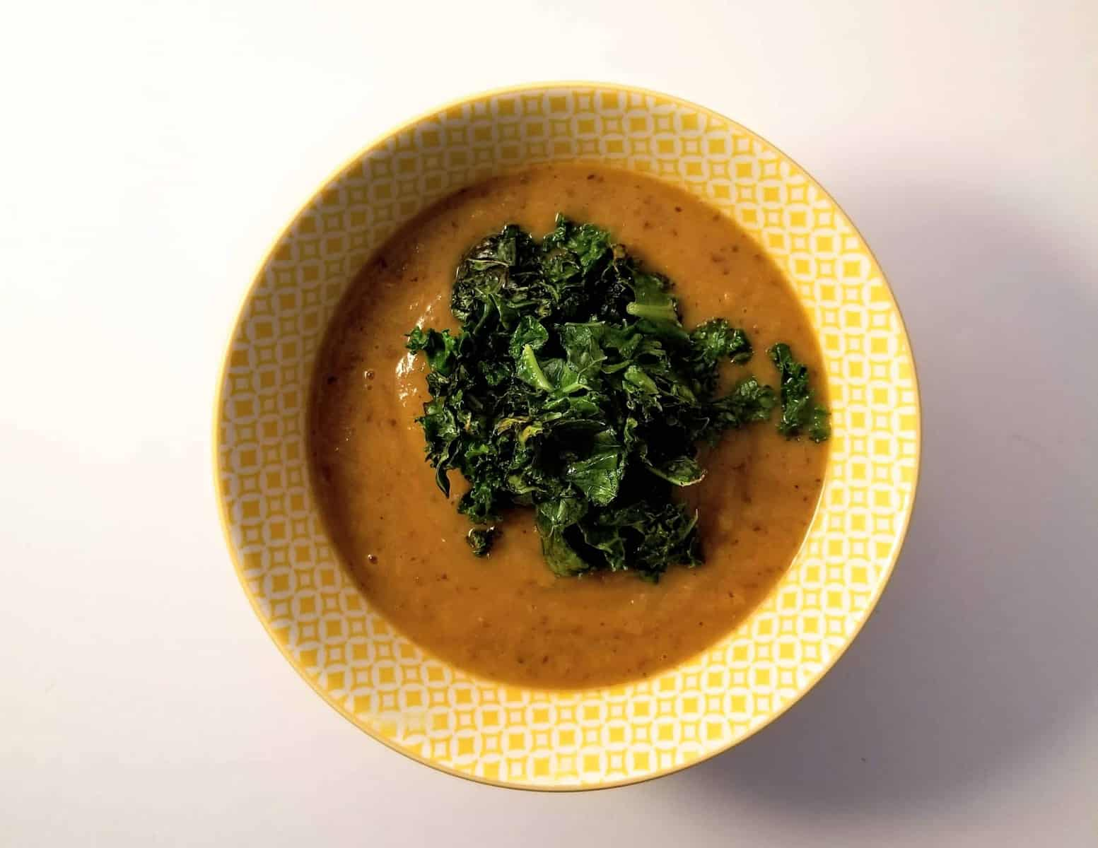 Black Bean and Butternut Squash Bisque with Crispy Kale