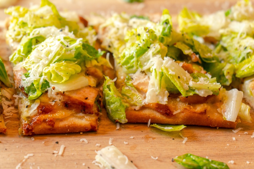 Chicken Caesar Salad Flatbread | Sip and Spice