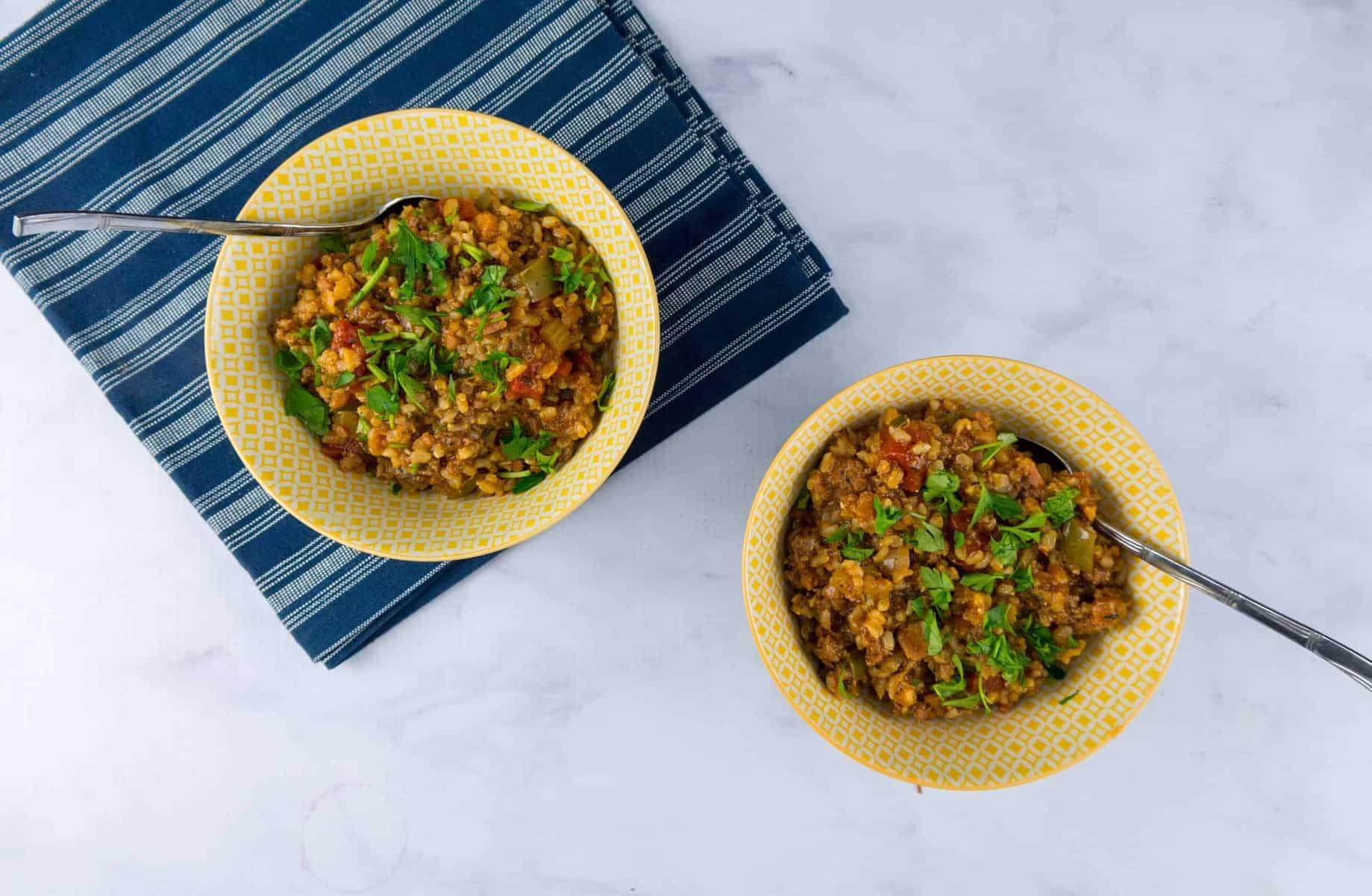 Weeknight Brown Rice Jambalaya with Andouille and Ham