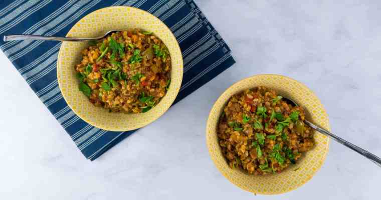 Quick Brown Rice Jambalaya with Andouille and Ham