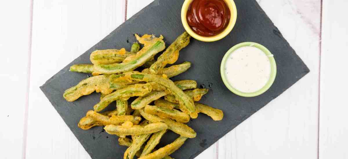 Fried Green Beans with Wasabi Ranch