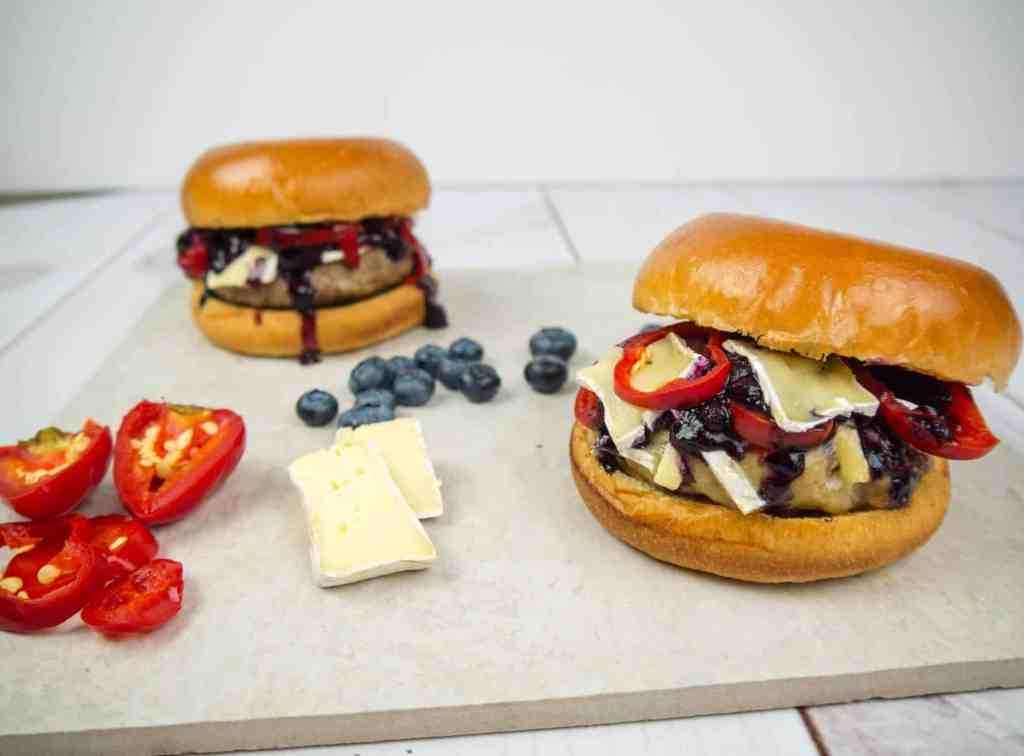 4th of July Red White and Blueberry Burger | Sip + Spice