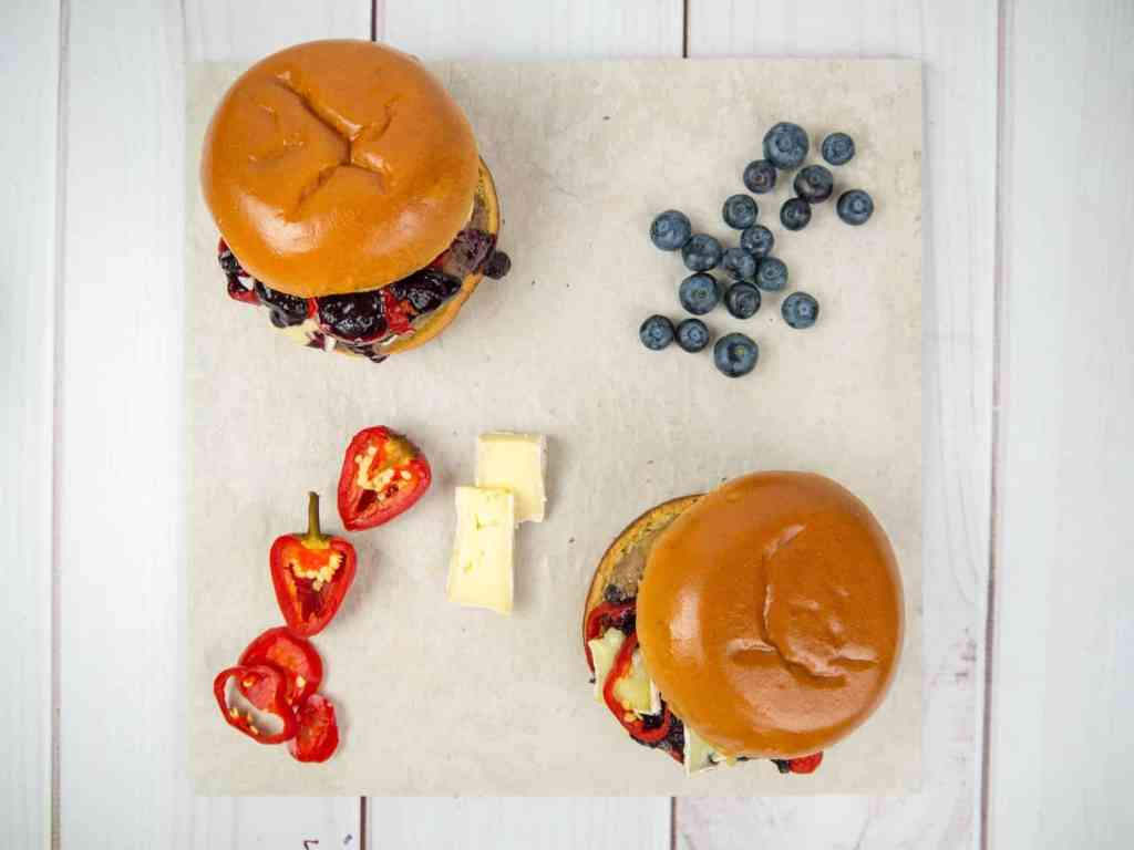 Red White and Blueberry Burger 4th of July | Sip + Spice