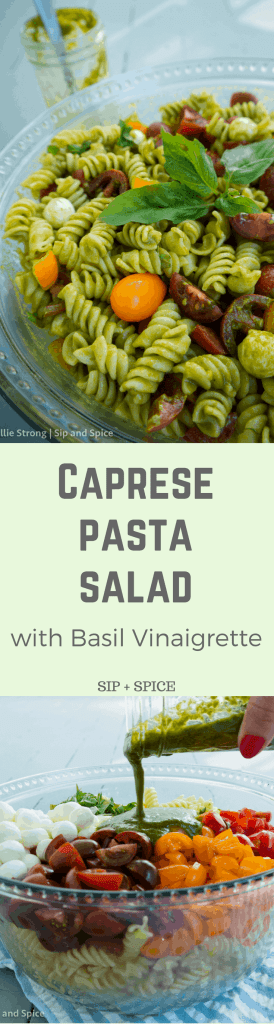 Shake things up at your summer get-together with this Caprese Pasta Salad with Basil Vinaigrette   Sip and Spice #caprese #pastasalad #cleaneating #healthy #sidedish #summer
