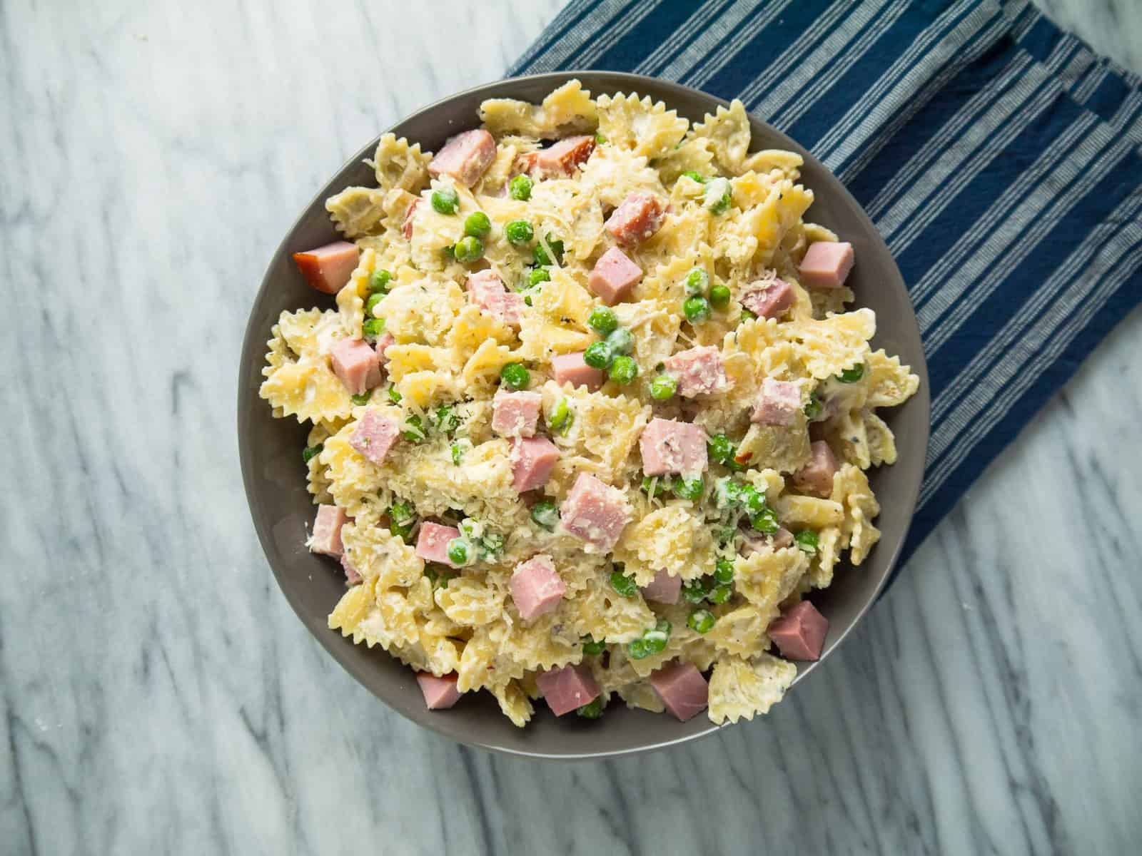 15-Minute Bowties with Ham, Peas and Ricotta