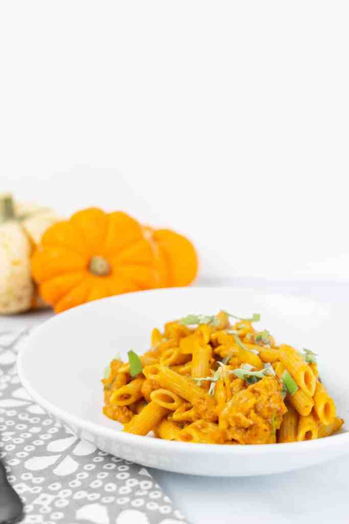 Sage Pumpkin Pasta with Spicy Sausage | Sip and Spice
