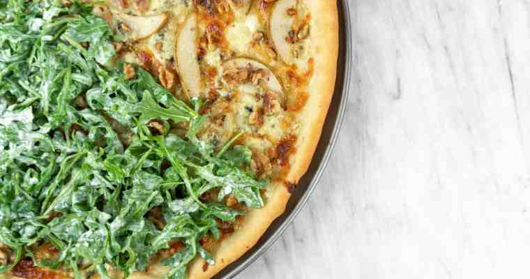 Caramelized Onion, Gorgonzola and Pear Pizza with Arugula