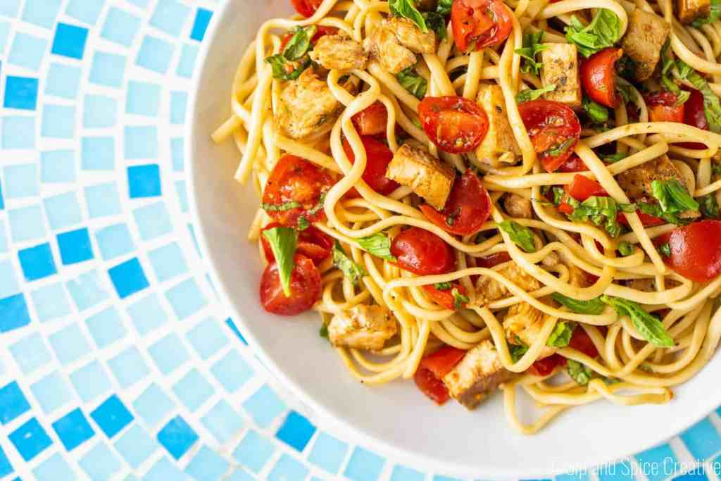 Bruschetta Chicken Noodle Salad | Sip and Spice