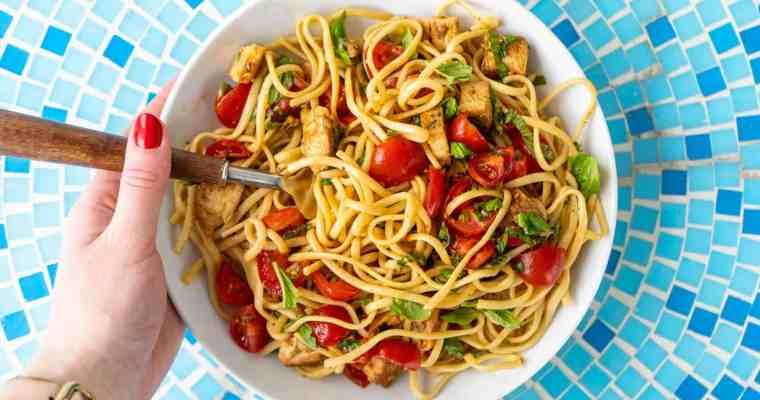 Bruschetta Chicken Noodle Salad