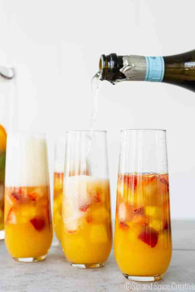 Brunch Sangria Mimosas with Mint and Pineapple | Sip and Spice