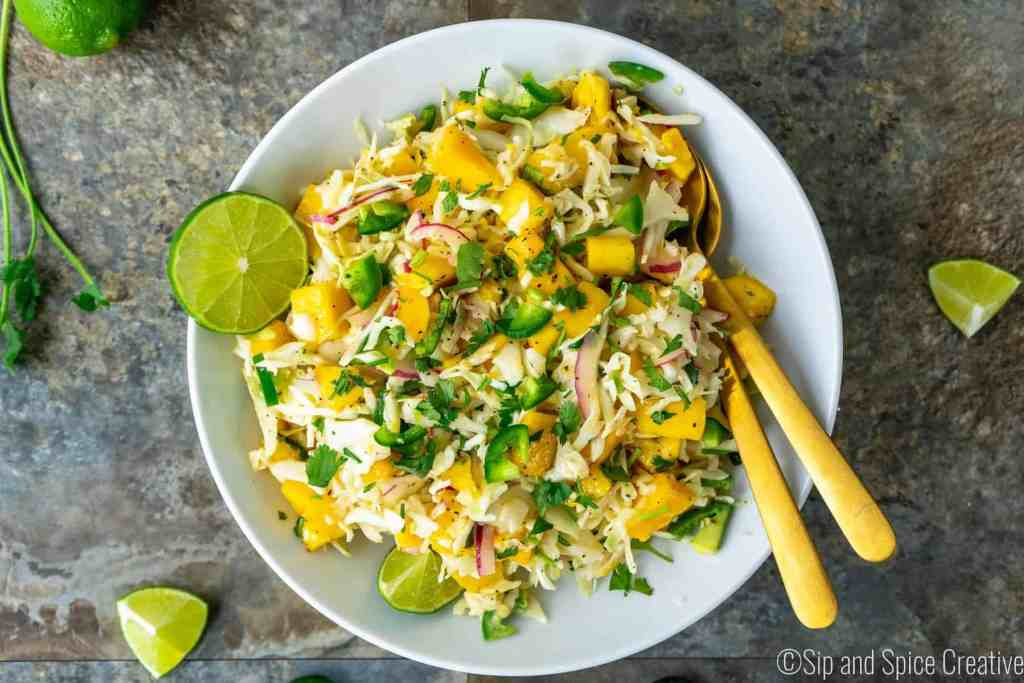 15-Minute Spicy Mango Slaw | Sip and Spice