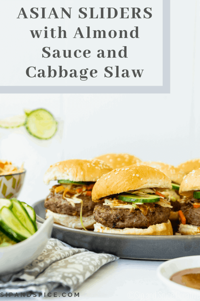 Shake up burger night with these Asian Sliders with Almond Sauce and Cabbage Slaw | Sip and Spice #weeknightdinner #summerdinner #sliders #partyfood