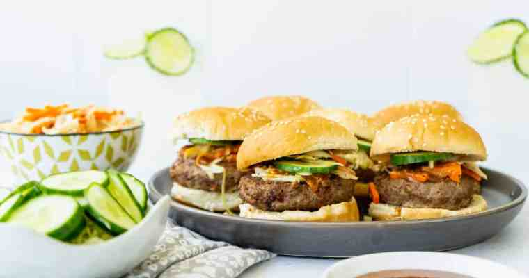 Asian Sliders with Almond Butter Sauce and Cabbage Slaw