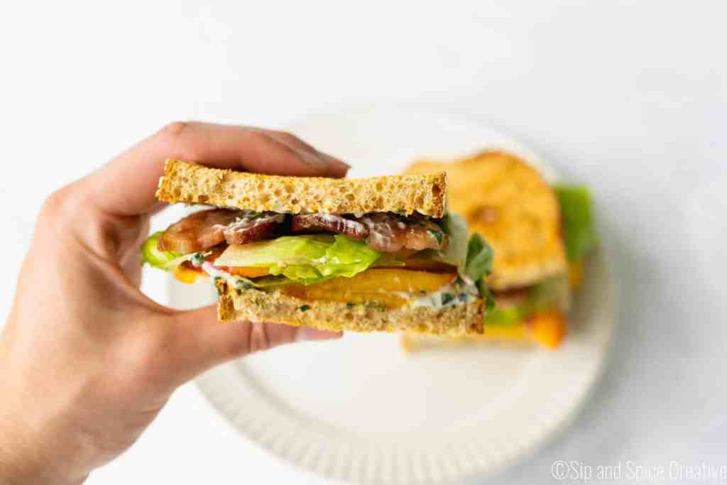 Bacon Lettuce and Peach Sandwich with Basil Mayo | Sip and Spice