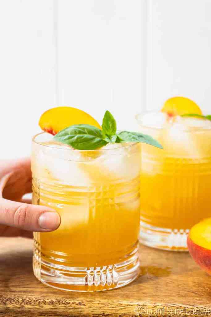 Basil Peach Whiskey Cocktail | Sip and Spice