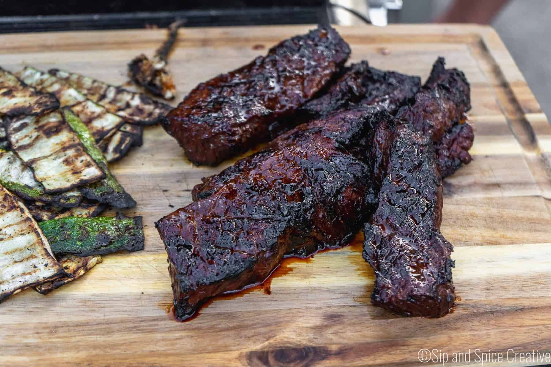 Spicy Honey Bourbon Marinated Steak Tips