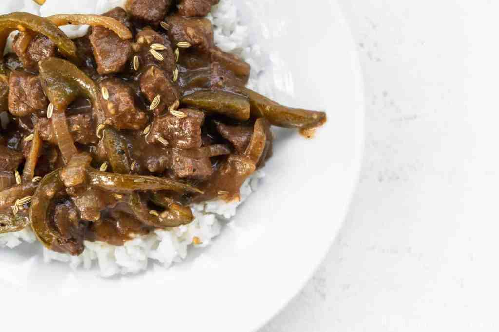 Final Overhead Image of Easy Italian Pepper Steak and Rice | Sip and Spice