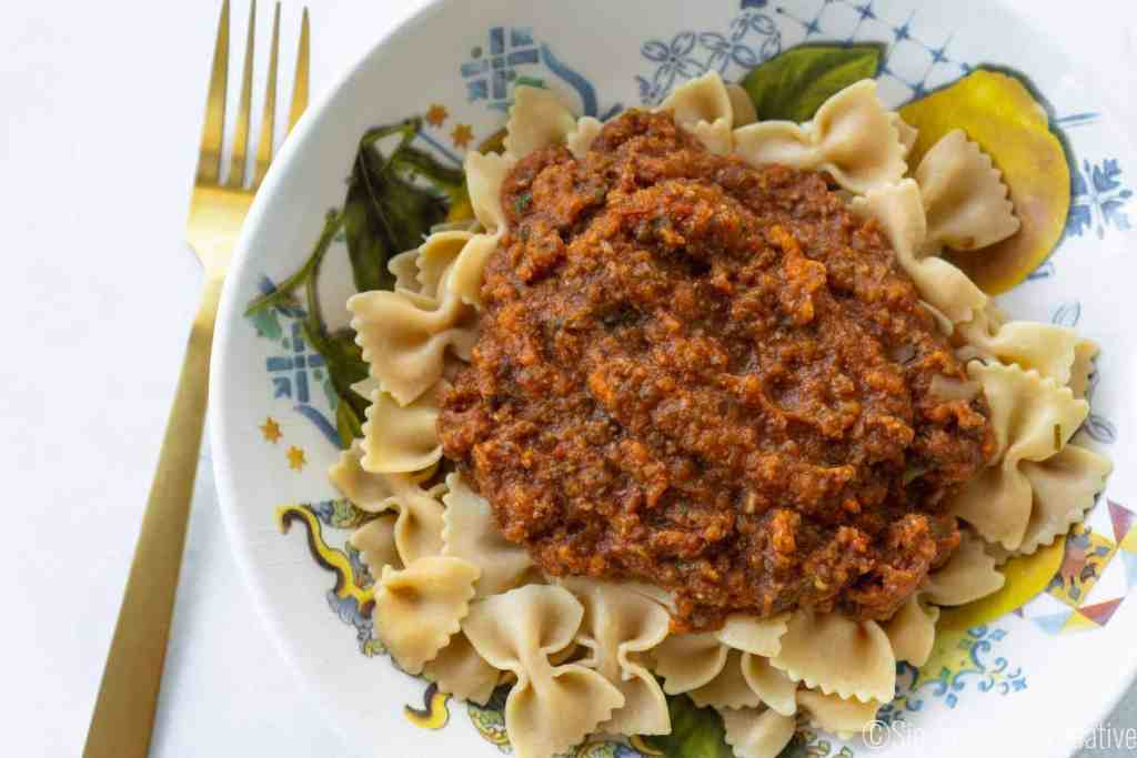 Final Image Veggie Bolognese on Chickpea Pasta | Sip and Spice