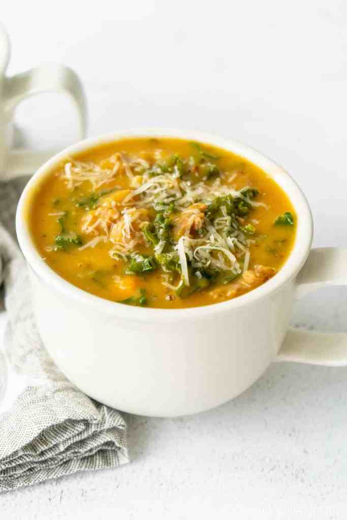 Creamy Sweet Potato Kale Soup with Sausage | Sip and Spice