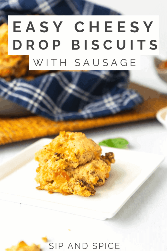 Easy Cheesy Drop Biscuits make for a killer dinner side, snack or even breakfast! One bowl, zero mess, all the flavor! | Sip and Spice #dropbiscuits #easybaking #savory #dinnerideas